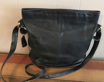 Vintage Coach Crossbody Black Leather