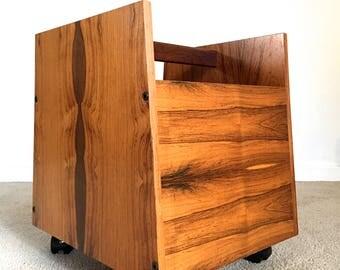 Bruksbo Norway rosewood rolling magazine rack holder stand