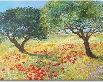 Poppies in spring... nature art, landscape original painting | wedding birthday gift | ready to hang 'home sweet home' or for your office