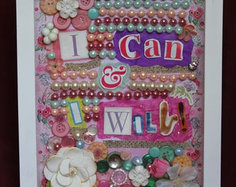 """Hand-Made """"I Can, and I Will"""" Shadow Box Art"""