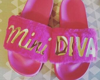 Mini Diva Fuax Fur Slides