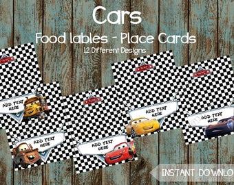 Cars Food Labels, Cars Editable Food Tent Tags, Cars Printable Place Cards, Cars DIY Food Labels, Cars Printable tags, Cars Birthday Party