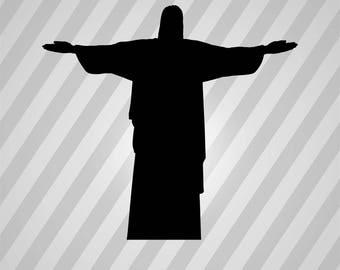 Redeemer Statue Silhouette - Dxf, Svg, Eps, Rld, Rdworks, Pdf, Png And Ai Print Files, Digital Cut, Vector File, Svg File