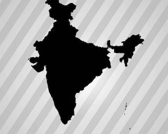 India Map Silhouette -  Svg Dxf Eps Rld Rdworks Pdf Png Ai Files Digital Cut Vector File Svg File Cricut Laser Cut