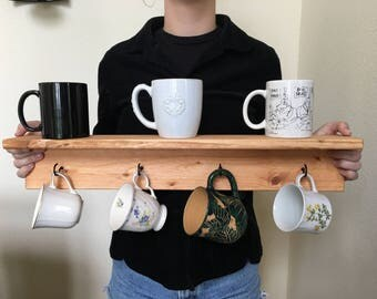 Hand made rustic coffee mug or teacup holder with shelf