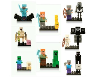 "8 Sets 2-3"" Minecraft Characters Building Toy Packs ~ Birthday Party Favors Toys Supplies"
