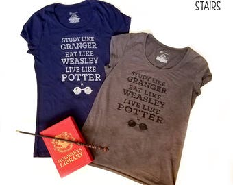 Study Like Granger Harry Potter T-Shirt, Golden Trio Hogwarts Shirt, Nerdy Harry Potter Fan Gift, Geeky T-shirt Gift, Granger Weasley Potter