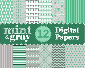 12 Mint and Grayy Digital Papers. Arrows. Lattice. Quatrefoil. Stripes. Chevron. Dots. Triangles. PNG files.