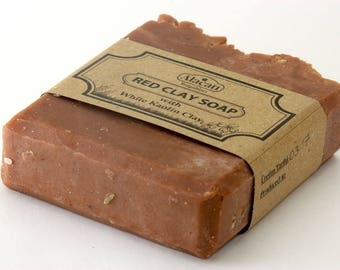 Red Clay Soap with White Kaolin Clay