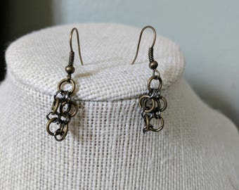 Steampunk Industrial Chain Mail Bronze Small Dangle Earrings