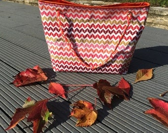 Medium size tote bag Chevron pattern