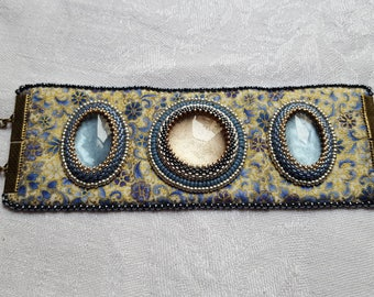Baroque bead embroidery Cuff Bracelet, floral fabric blue white and gold varnish cabochons