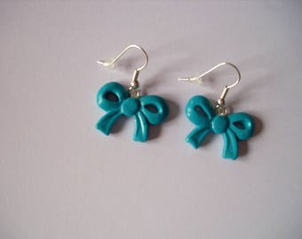 earrings, turquoise bow, fimo