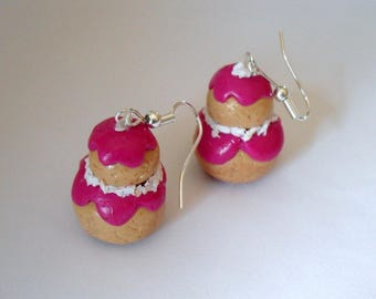 religious earrings raspberry polymer clay