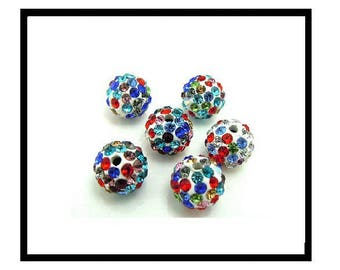 X 2 beads shamballa 10mm, white and multicolor rhinestone crystal.