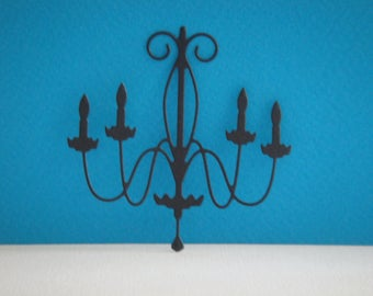 Cut black chandelier for scrapbooking and card