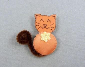 Silk flower - several colors version cat brooch