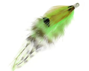 Brown feathers / lime: 1 pen of 11 cm in length