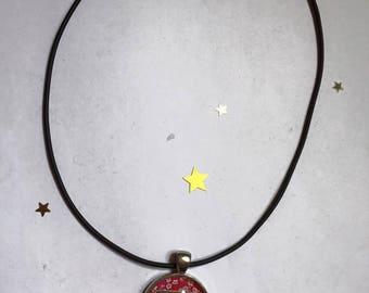 "Rubber necklace 25 mm pendant Choker ""Nicest moms"""