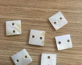 set of 6 connectors mother of Pearl 10 x 10