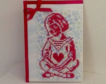 Embroidered postcard girl with heart frame