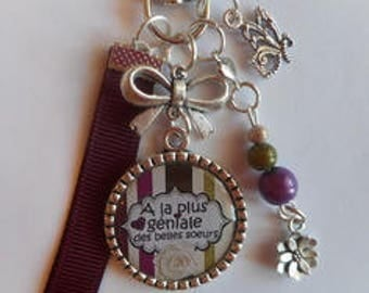"""Bag charm, door keys/beautiful sister / """"Has the most amazing beautiful sisters"""" / gift/thank you/party/birthday/Christmas"""