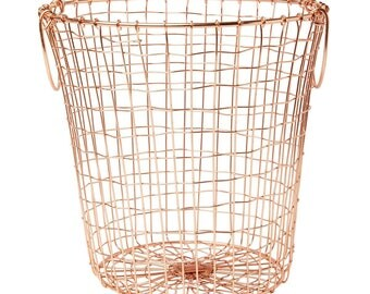 storage basket, 30cm, copper, COPPER WIRE MESH BASKET ROUND