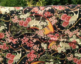 Fabric patch, coupon, cranes, Japanese, oriental traditions, 30 x 55, makower uk, English,