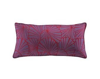 Cushion cover, 30x60cm, art deco, reversible, water lilies, red, Thévenon