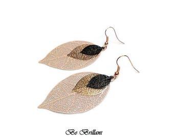Leaf print black pink beige pink gold filagree earrings