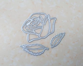 die cut rose and leaves. Die cut