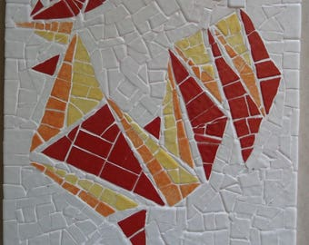 """""""Rooster"""" mosaic made trivet"""