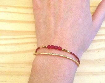 ELIA - pink agate - copper Hematite and miyuki Beads Bracelet