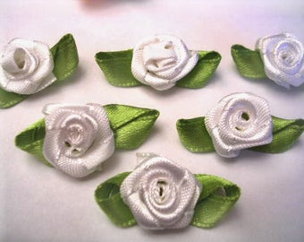 BATCH 6 fabric APPLIQUES: 13mm white rose