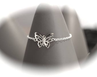 KIT DIY LIPIKI: openwork and filigree butterfly and fine silver metal chain adjustable bracelet