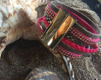 Pink and brown leather magnetic bracelet