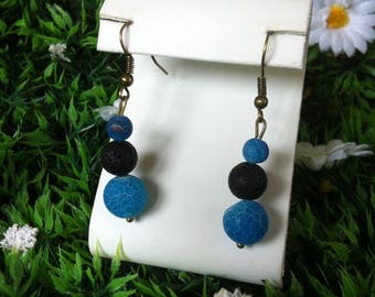 "Earrings ""trio of agate and lava beads"""