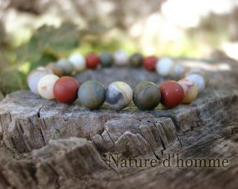 Bracelet texture matte amazonite stones, Jasper and agate Ref: BN-223