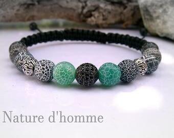 Bracelet braided cracked agate stone, rock crystal and bone yak Ref: BN-203