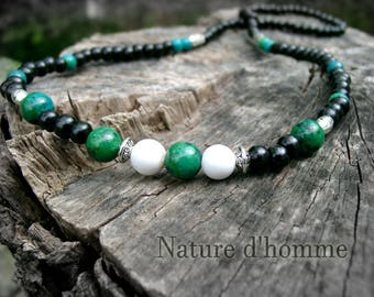 Necklace man chrysocolla veined white howlite and sandalwood RC-024