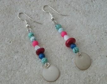 Sequin enamel beige earrings