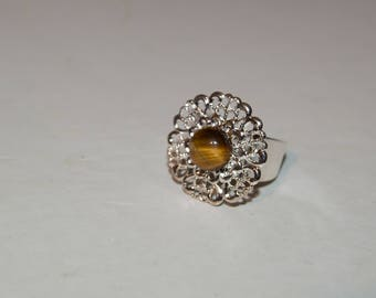 Silver ring and Swarovski stone  or his natural stone tiger's eye