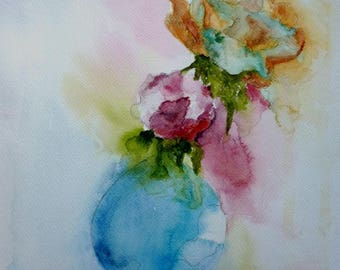 watercolor flowers in the dark