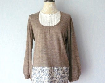 Sleeve beige tunic sweater long Liberty fabric blue and off-white flowers, women size 44