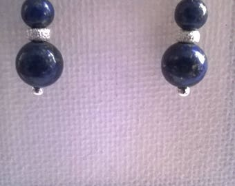 Lapis lazuli on 925 Sterling Silver earrings