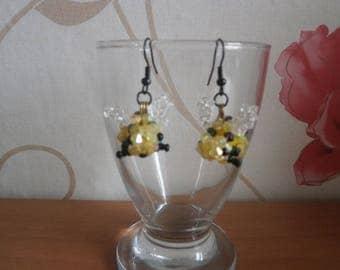 "Earrings ""Bee"" beads."