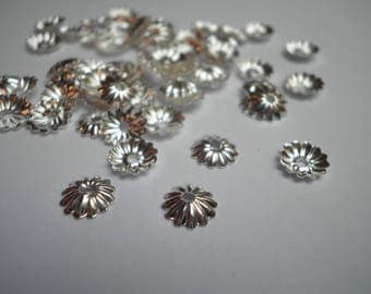 20 6 x 2 mm silver filigree flower bead caps