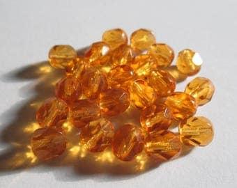 10 6 mm Topaz Czech faceted beads