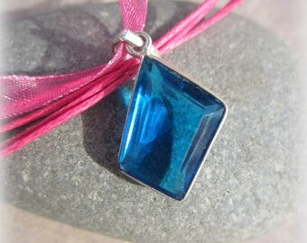 faceted Blue Crystal pendant