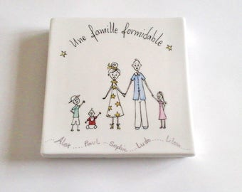 Bottom of dishes customized porcelain, humorous characters. Mother gift.